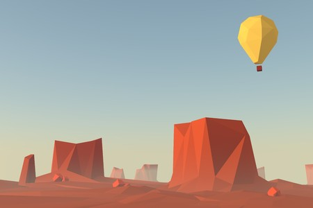 monument valley: Low poly landscape scene. Monument valley in USA illustration concept with flying balloon. 3d render illustration. Stock Photo