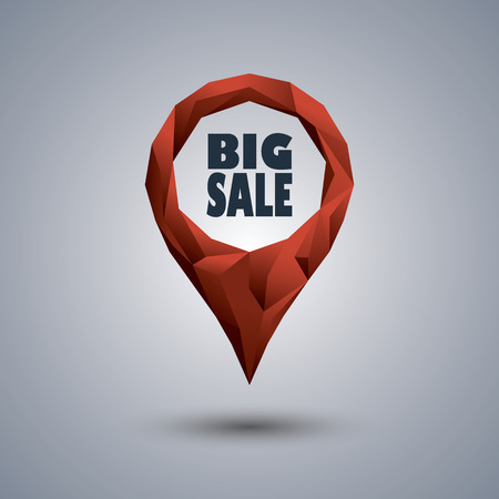 shopping mall: Big sale icon. Low poly design location pin with text inside for sales promotion and advertising. Eps10 vector illustration.