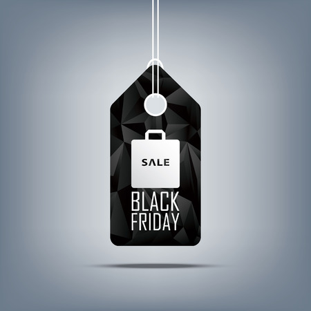 shopping bag: Black friday sale price tag with shopping bag. Low poly design sales symbol. 3d polygonal shape background. Eps10 vector illustration.