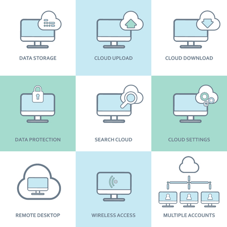 Cloud computing icons collection. Set of computer symbols for innovative technology in communication and data storage. Eps10 vector illustration. Illustration