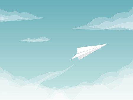 above clouds: Paper plane background with airplane flying above clouds. Business symbol of success and freedom. Eps10 vector illustration.