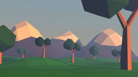 golden dusk: Low poly landscape with mountains and trees. Nature scene at sunset. 3d render illustration. Simple polygonal shapes.