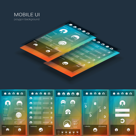 Mobile user interface vector template. Smartphone ui with flat design icons on low poly background.