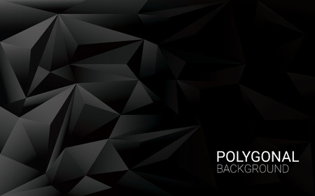 Low poly black background. 3d polygonal vector wallpaper with space for text.vector illustration. Stok Fotoğraf - 46445573