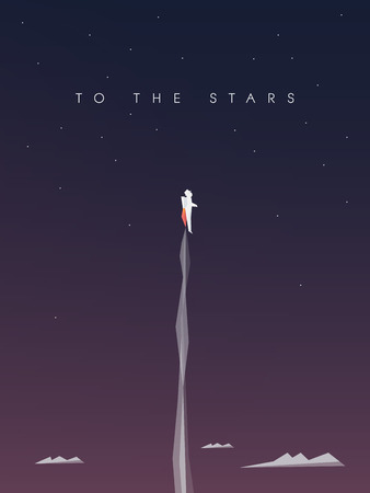 Career development vector background. Business wallpaper with astronaut flying to space. Eps10 vector illustration.  イラスト・ベクター素材
