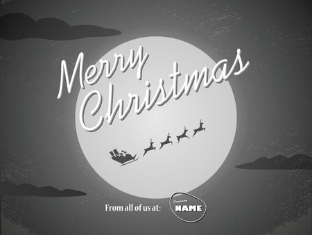 hollywood christmas: Vintage christmas card template. Classic hollywood movie ending style with santa claus flying with reindeer and full moon. vector illustration.