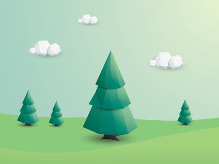 low poly: 3d low poly landscape with green trees. Environmental ecology nature background.  Illustration