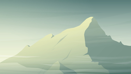 face covered: Mountain vector background. High peak snow covered face in morning light with mist and clouds.  vector illustration.