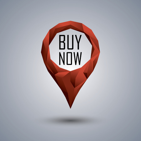 buy icon: Buy now icon. Low poly design location pin with text inside for sales promotion and advertising.  vector illustration.