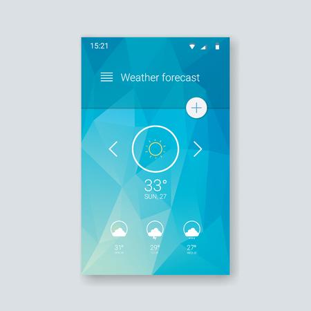 meteo: Previsioni del tempo per ui applicazione smartphone. Cellulare modello interfaccia utente con icone di linea sul basso fondo poli. illustrazione vettoriale. Vettoriali