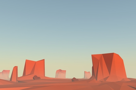 low poly: Monument valley in 3d low poly design. Polygonal landscape illustration, sunrise atmosphere with mist. vector illustration. Stock Photo