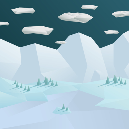 christmas scene: Low poly winter landscape background. 3d polygonal mountains and trees scene.  vector illustration. Illustration