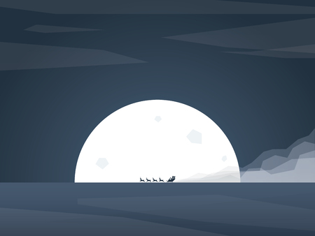 Santa claus riding sleigh with reindeer in front of full moon. Traditional Christmas cartoon. vector illustration. Illustration