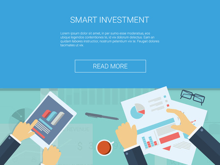 introduction: Investment infographics vector background. Business analysis wallpaper with symbols, graphs, charts. Suitable for presentations, newsletter, introductions.  vector illustration.