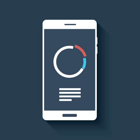 smartphone: Smartphone with business graphs and charts symbol. Isolated mobile phone on dark background in flat design.  vector illustration.