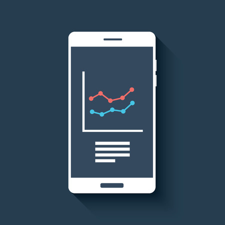stocks: Smartphone with business graphs and charts symbol. Isolated mobile phone on dark background in flat design.  vector illustration.