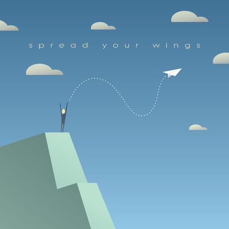 ビジネス成長の成功の概念。独立のシンボルとして紙飛行機と企業の背景。 ベクトル イラスト。