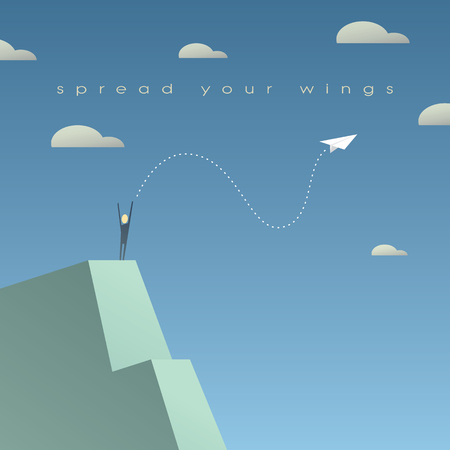 Business growth success concept. Corporate background with paper plane as symbol of independence.  vector illustration.