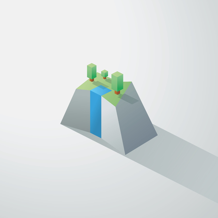 garden of eden: Low poly minimalistic landscape with isometric trees and a small waterfall on cliff. 3d polygonal design. Eps10 vector illustration.
