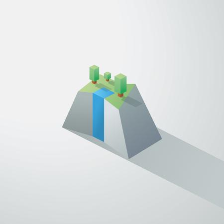 eden: Low-Poly-minimalistische Landschaft mit isometrischen B�umen und einem kleinen Wasserfall auf einer Klippe. 3d polygonalen Design. Eps10 Vektor-Illustration.