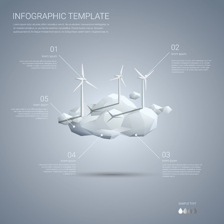 clean energy: Wind farm on clouds infographics template. Clean sustainable energy concept presentation of renewable power resources.  vector illustration.