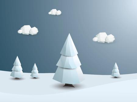 Bajo poli vector de fondo paisaje de invierno. 3d árboles blancos poligonales con nieve. Fondo de pantalla de Navidad. ilustración vectorial.