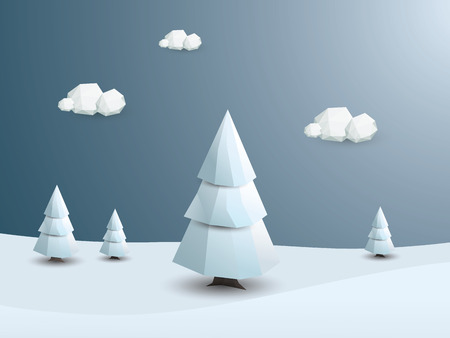 snow background: Low poly winter landscape vector background. 3d Polygonal white trees with snow. Christmas wallpaper.  vector illustration.