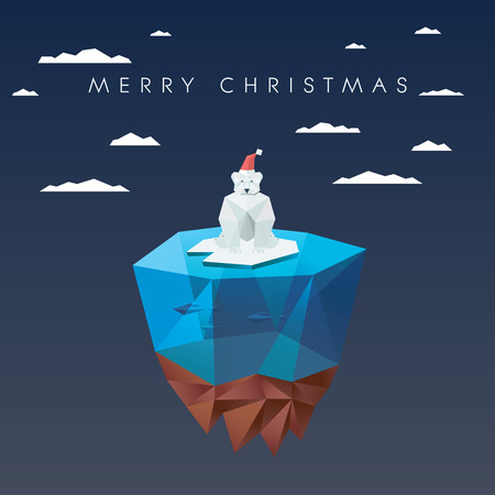 north island: Christmas card template with polar bear in low poly design. Cute adorable animal cartoon for holiday.  vector illustration. Illustration