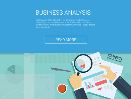 magnify: Business analysis background with magnifying glass, graphs and charts. Analytics report vector infographics.  vector illustration.