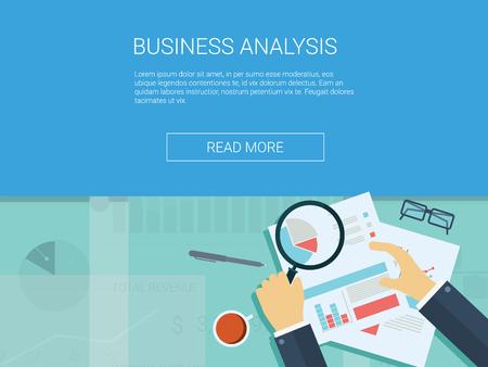 lupa: del fondo del análisis de negocios con lupa, gráficos y tablas. Analytics registra infografía vector. ilustración vectorial.