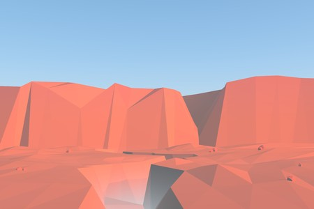 cliffs: Red rocks low poly canyon landscape with cliffs and rocks. 3d render background illustration.