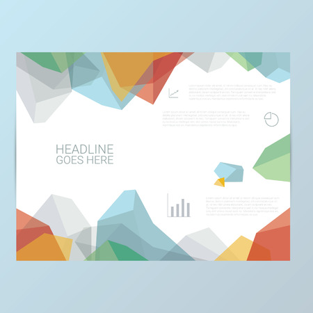 company profile: Report or brochure template. Abstract polygonal shapes background. Infographics icons for business presentation vector illustration. Illustration