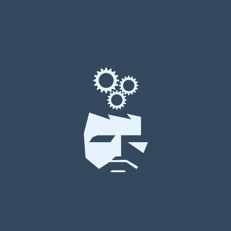 business gears: Brainstorming symbol. Business vector icon with man and gears.  vector illustration.