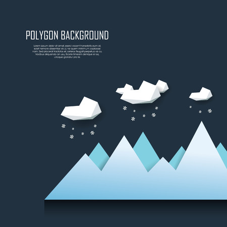 snowing: Winter landscape background with clouds and snowing. Minimalistic modern low poly design.  vector illustration.