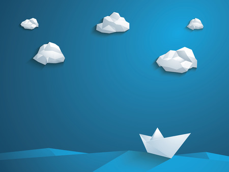 Low poly 3d paper boat vector background. Polygonal clouds and waves. Business leader abstract concept.  vector illustration.
