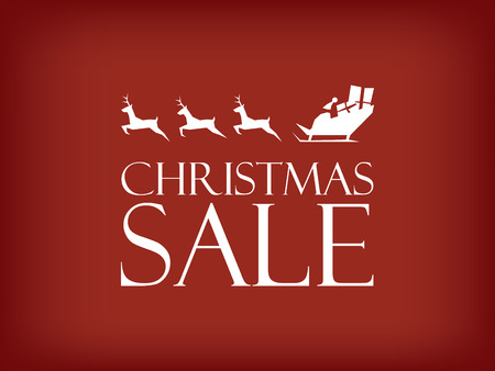 Christmas sale vector background. Santa Claus riding sleigh with reindeer and space for advertising or promotion. Shopping banner. vector illustration.