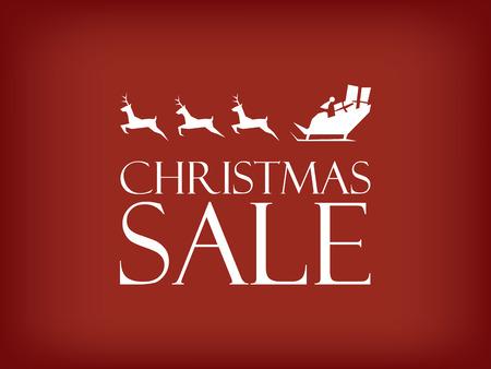 クリスマス セールのベクトルの背景。サンタ クロースはトナカイとそり、広告やプロモーションのためのスペースします。ショッピングのバナーで