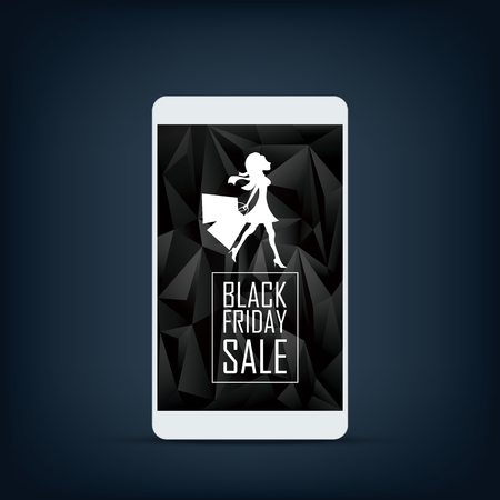 woman smartphone: Black friday sale vector banner template with smartphone. Woman with shopping bags.  vector illustration.