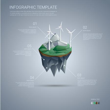 to wind: Parque eólico en la isla flotante. Renovables plantilla infografía industria energética en el diseño moderno de baja poli. ilustración vectorial.