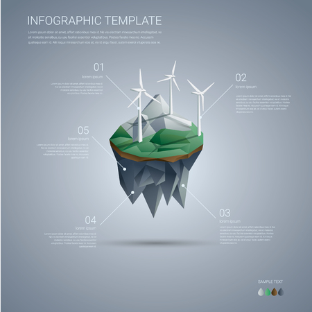 Wind farm on floating island. Renewable energy industry infographics template in modern low poly design. vector illustration. Stock Illustratie