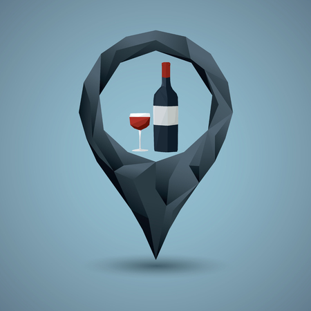 glass bottle: Wine bottle and glass with navigation pin. Low poly icon concept for bar, pub or restaurant. Alcohol drink symbol. vector illustration. Illustration