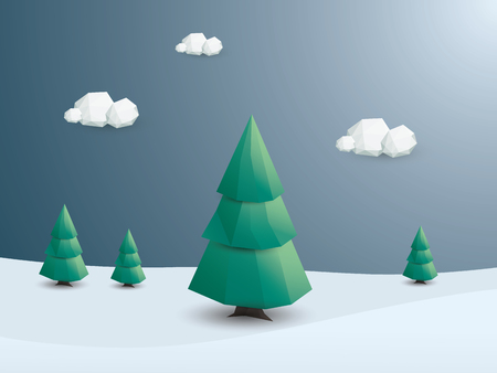 nature green: Winter landscape vector background. Low poly nature wallpaper with green trees and snowy scenery. vector illustration. Illustration
