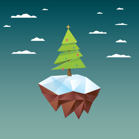 low poly: Low poly christmas tree on polygonal floating island. Holiday vector background. vector illustration.