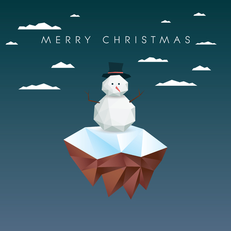 floating: Low poly snowman on polygonal floating island. Christmas card template.vector illustration.