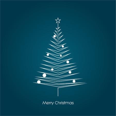 blue christmas background: Christmas tree vector symbol in modern line art design. Xmas card template.  vector illustration. Illustration