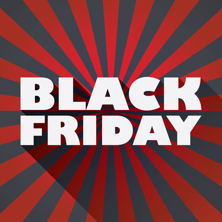 black shadow: Black friday sales  template with message and long shadow typography on dark background.