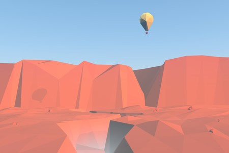 red rocks: 3d low poly landscape background. Red rocks and canyons with balloon flying over. Sunrise scenery in soft light. Render illustration. Stock Photo