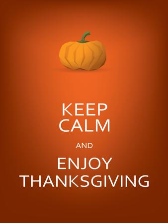 feliz: Plantilla de tarjeta de la acción de gracias con la calabaza y mantener mensaje calma.