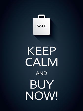 shopping icon: Keep calm and buy now sale poster template with shopping bag icon or symbol. Sales promotion background. Illustration