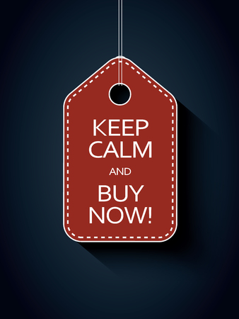 buy icon: Sale icon price tag with keep calm and buy now message. Funny sales advertising. Illustration